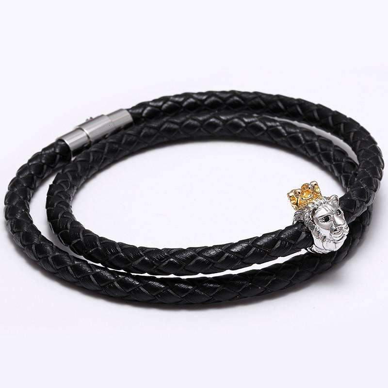 Crowned Lion Bracelet With Braided Leather