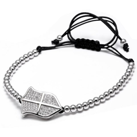 Mens Beaded Shield Bracelet