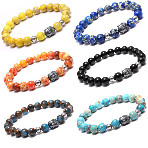 Image of Buddha Bracelets With Round Natural Stone Beads [ 12 Variation ]