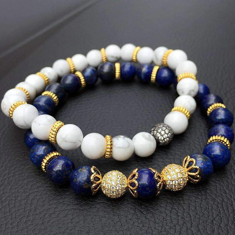 White & Blue Turquoise Beaded Bracelets
