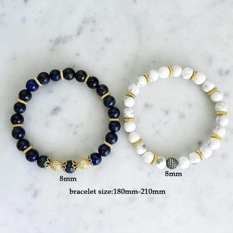 Image of White & Blue Turquoise Beaded Bracelets