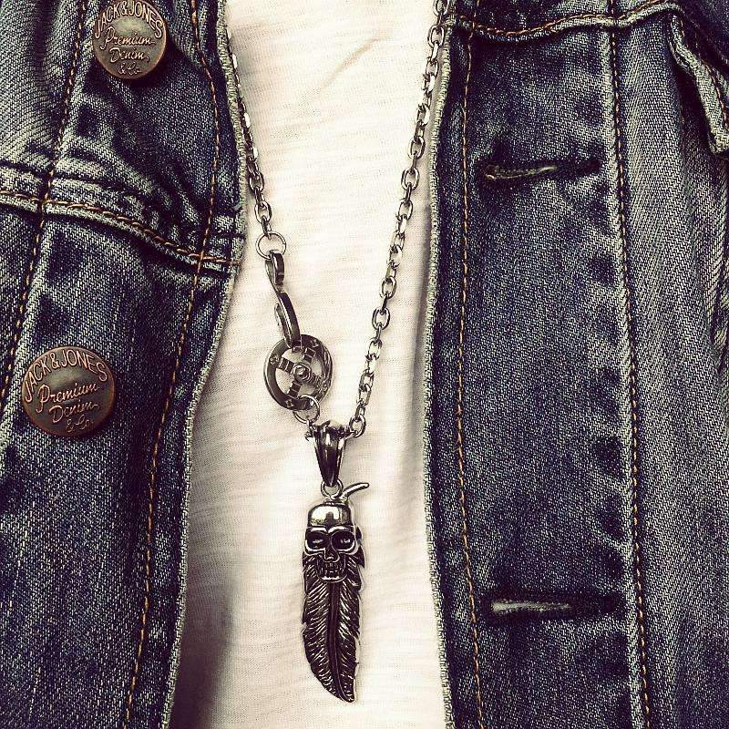 Skull & Eagle Feather Pendant Necklaces
