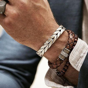 Mens Braiding Steel Cuff Bangle Bracelet