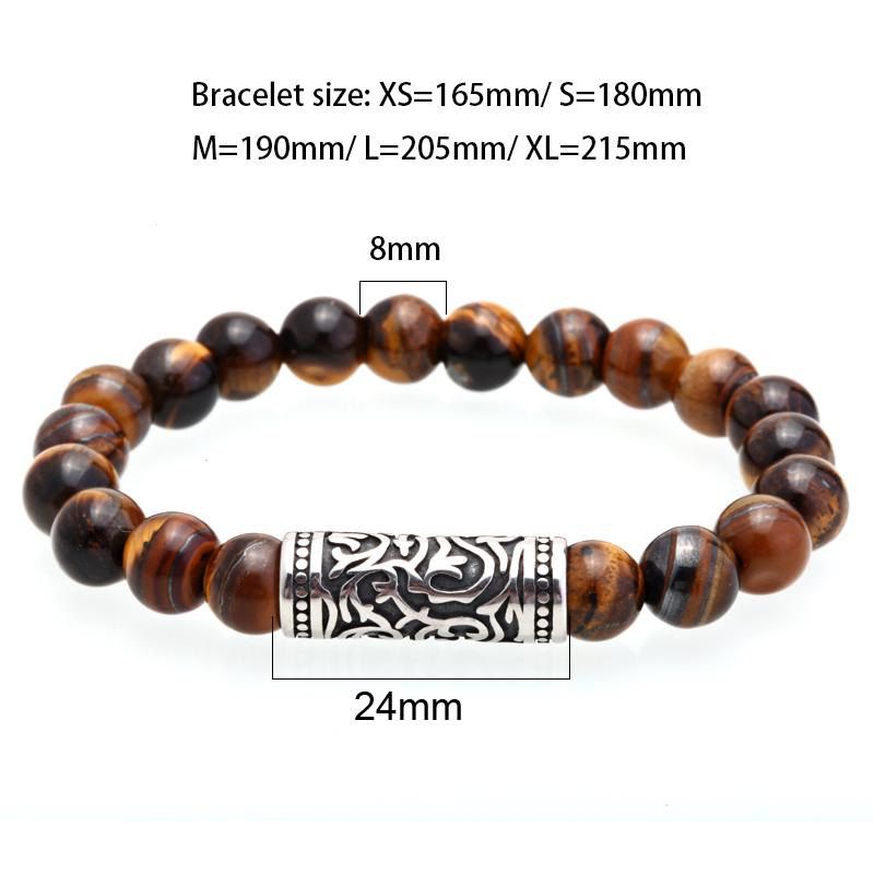 Tigers Eye Stone Men's Beaded Bracelet