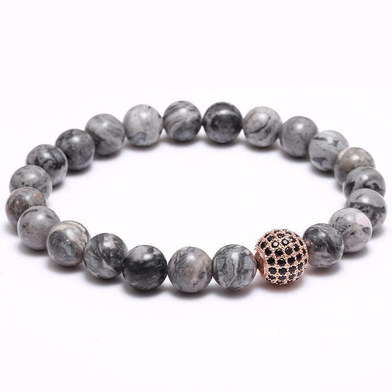 Disco Ball Charm & Grey Natural Stone Bead Bracelet