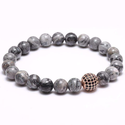 Image of Disco Ball Charm & Grey Natural Stone Bead Bracelet