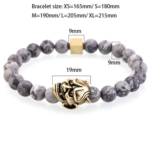 Mens Gray Striped Natural Stone Beaded Bracelet