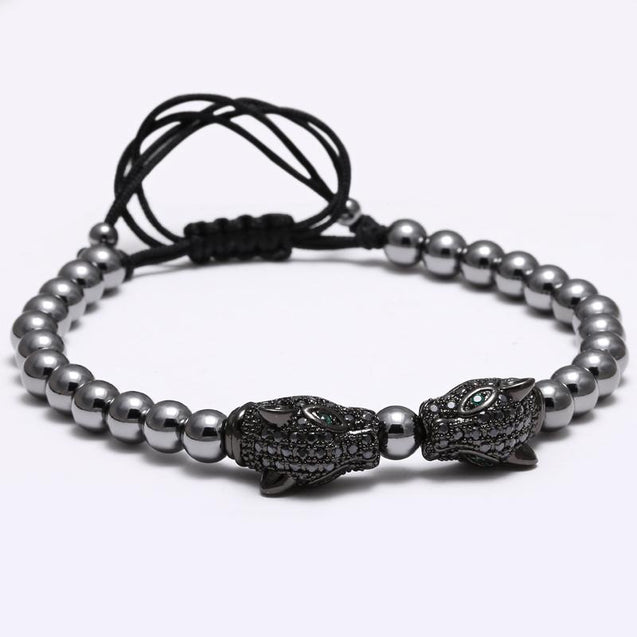 Mens Beaded Bracelet With Dragon Head Charm