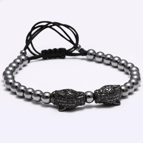 Image of Mens Beaded Bracelet With Dragon Head Charm