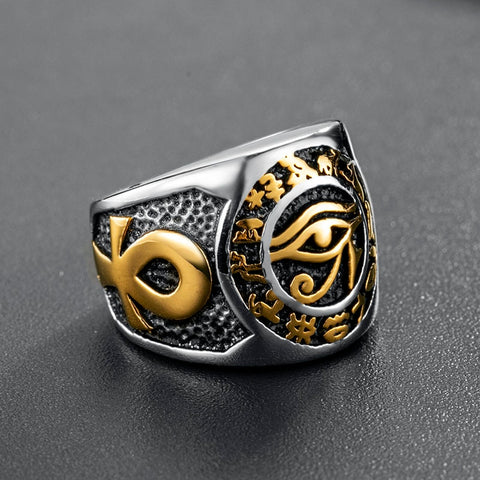 Men Egyptian Eye of Horus Ring