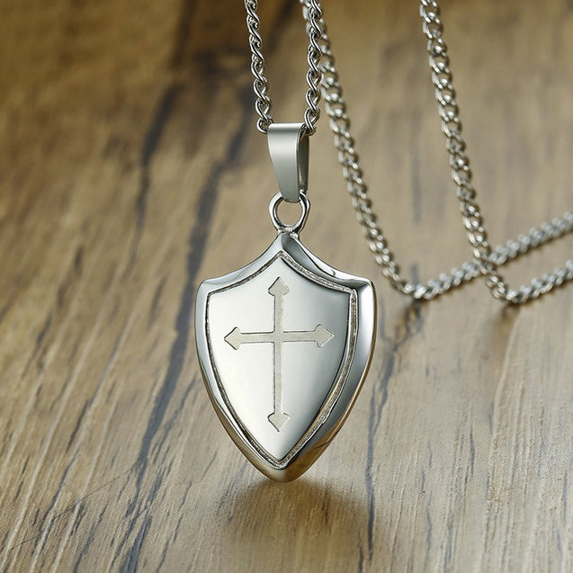 Shield Shape Cross Pendant Necklace In Stainless Steel Christian Jewelry