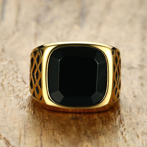 Mens Black Carnelian Stone Signet Ring