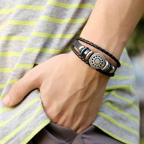Multilayer Braided Faux Leather Hollow Flower Charm Bracelet