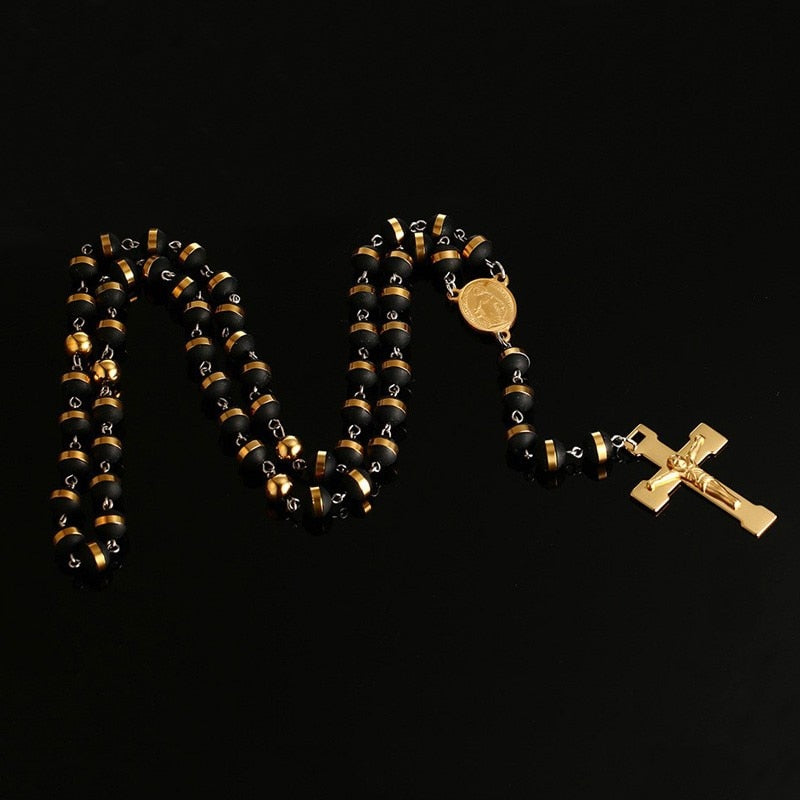 Cross Rosary Pendant Necklace With Beaded Chain