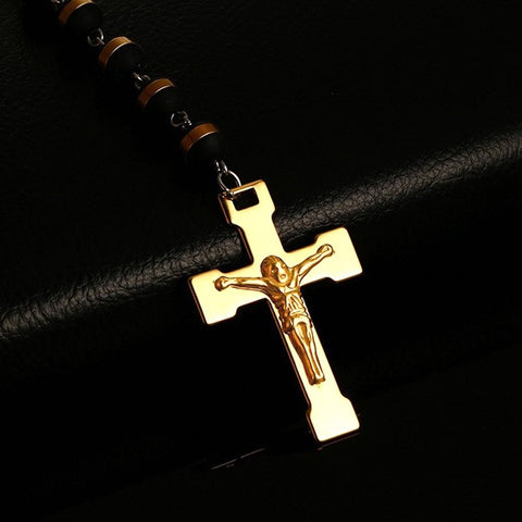 Image of Cross Rosary Pendant Necklace With Beaded Chain