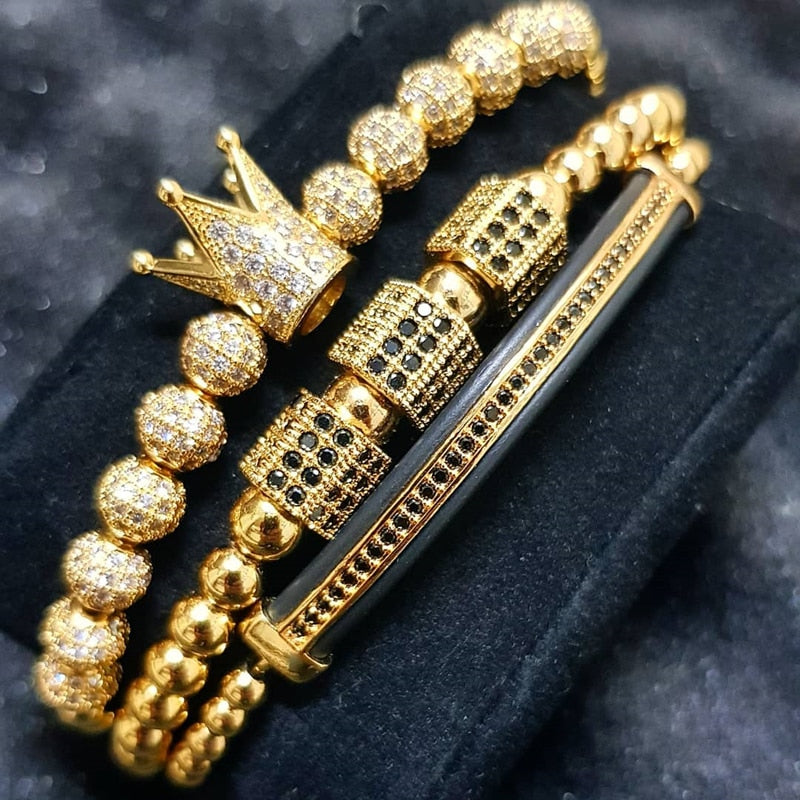 Luxury Royal Crown Beaded Bracelet Set