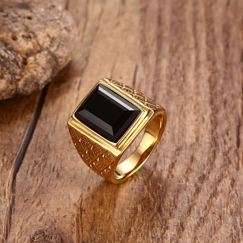 Image of Men's Large Black or Red Stone Signet Rings