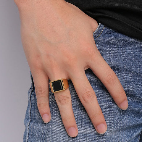 Image of Men's Square Black Stone Signet Rings