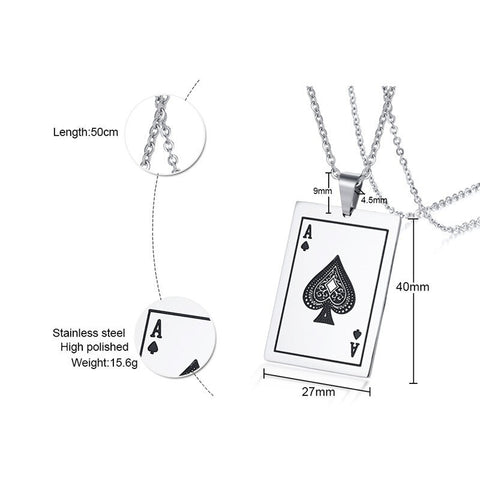 Mens Ace Of Spades Necklace Lucky Poker Pendant Jewelry