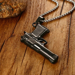 Mens M9 Gun Design Necklace Black Tone Stainless Steel Army Style Pendant
