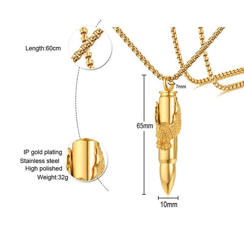 Image of Mens Bullet with Eagle Pendant Necklace