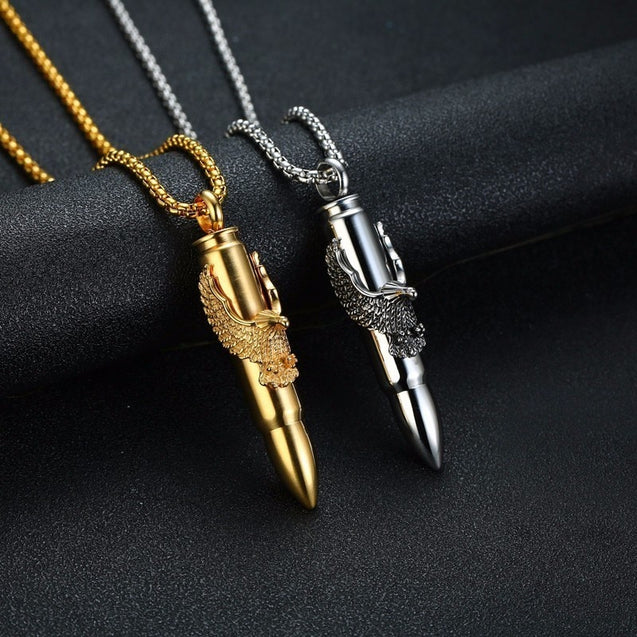 Mens Bullet with Eagle Pendant Necklace