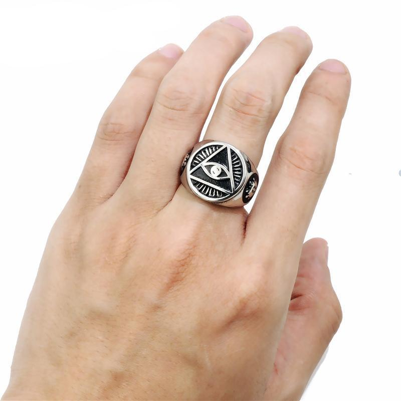 Mens All-Seeing Eye Stainless Steel Ring