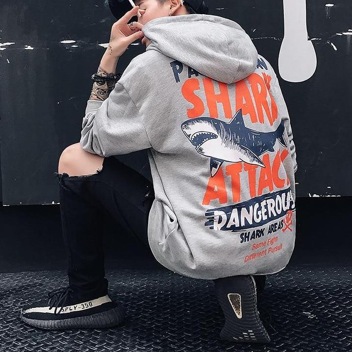 Mens Streetwear Shark Attack Printed Hoodies Sweatshirt