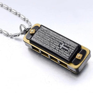 Stainless Steel Bible Harmonica Necklace Pendant