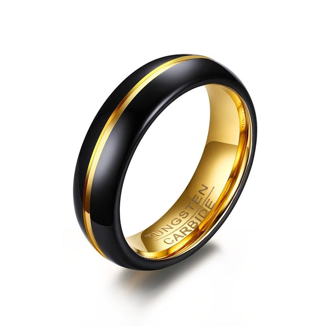 Mens Black Tungsten Carbide Ring With Gold Line