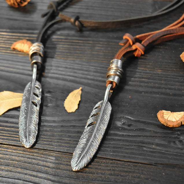 Mens Leather Necklace With Feather Pendant