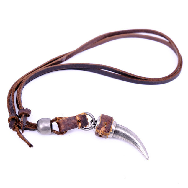 Genuine Leather Wolf Tooth Pendant Necklace
