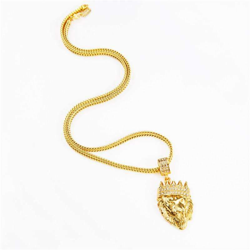 Mens Iced Out Lion Necklace
