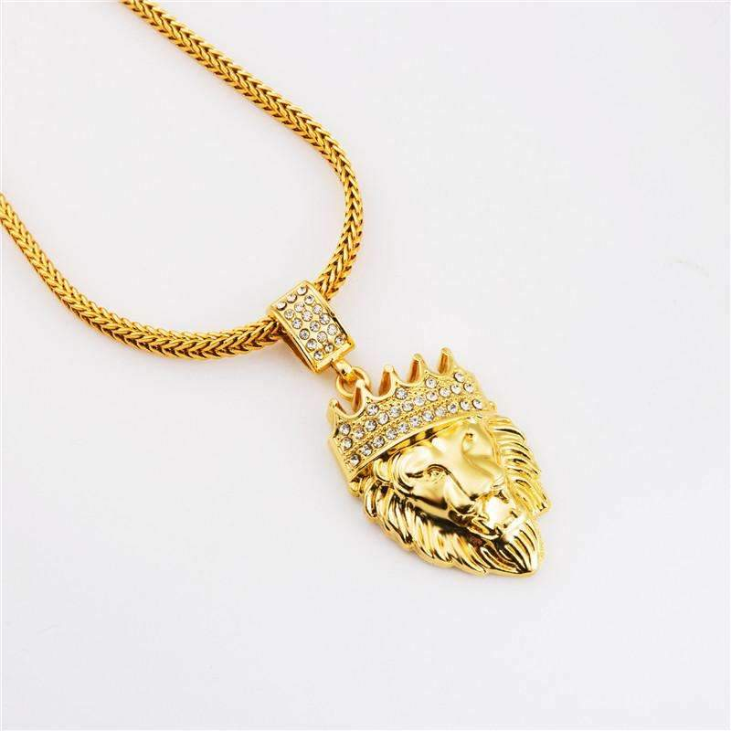 Iced out lion head pendant necklace mr peachy mens iced out gold color lion head pendant necklace aloadofball Image collections