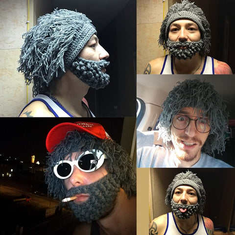 Image of Knitted Beard Beanie Hat
