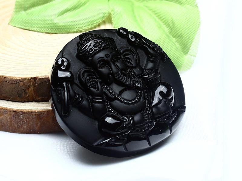 Black Obsidian Ganesh Elephant Necklace