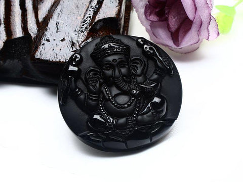 Image of Black Obsidian Ganesh Elephant Necklace