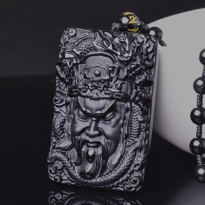 Black Obsidian Guan Yu Dragon Necklace