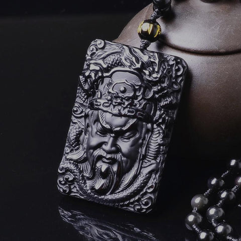 Image of Black Obsidian Guan Yu Dragon Necklace