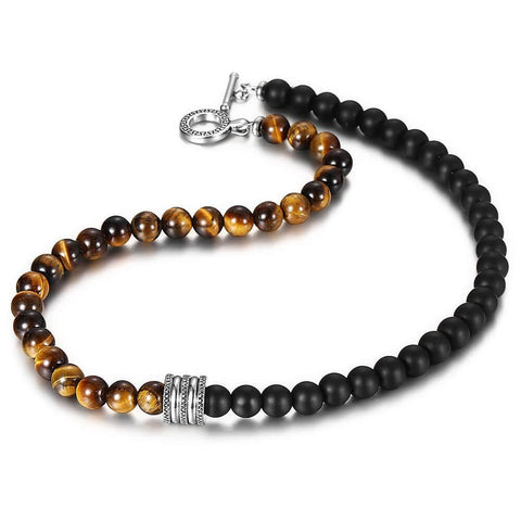 Natural Tiger Eyes Stone Beaded Necklace for Mens