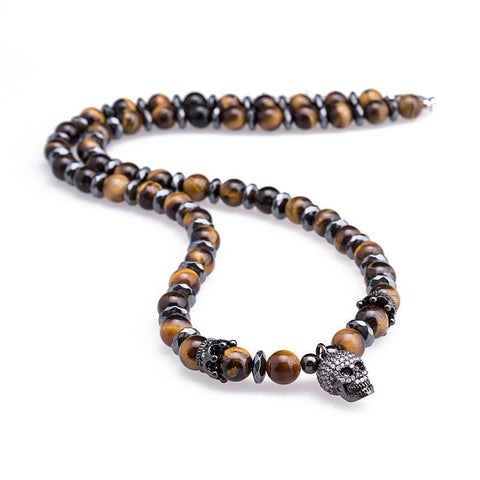 Image of Tiger Eye Stone Skull Necklaces Pendants For Men's