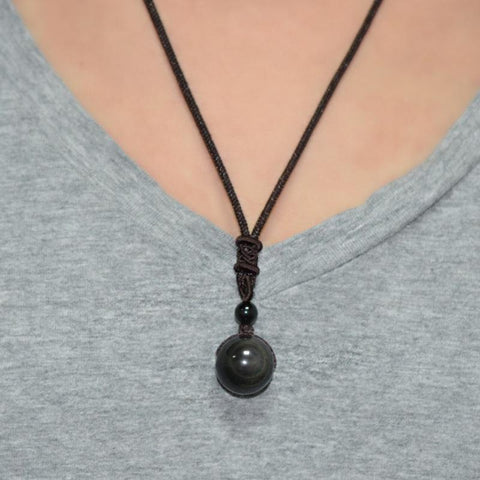 Image of Black Ball Obsidian Pendant Necklace