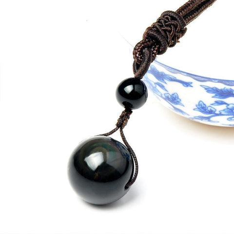 Obsidian Pendant Necklace