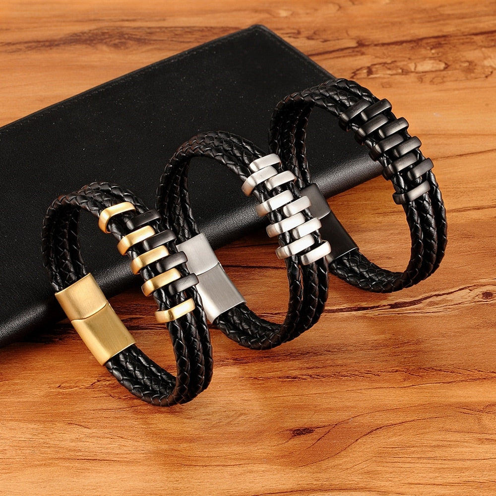 Multi Layer Black & Gold Steel Genuine Leather Bracelet