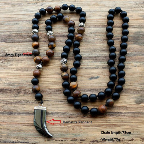 Image of Wolf Tooth Stone Beaded Pendant Necklace