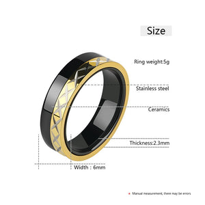 Men's Ceramic Rings With X Cross Logo Gold Color Side 6mm