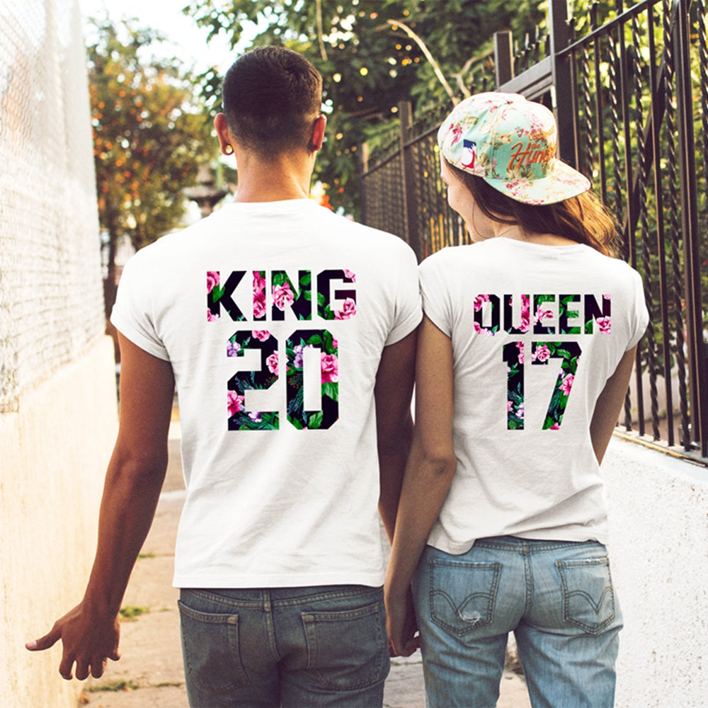 f2e2443f Floral King And Queen T Shirts Couple Shirts Funny Couple T Shirts ...