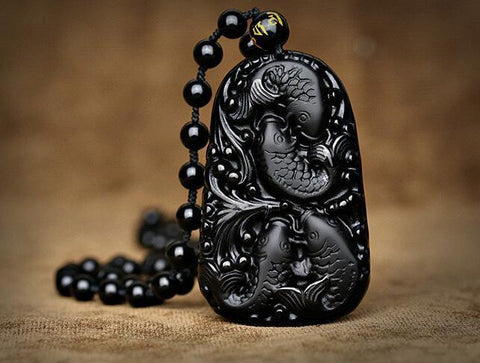 Image of Black Carved Fish Obsidian Pendant Necklace