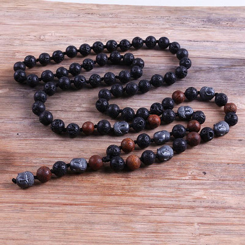 Buddha Stones Beads Long Necklace