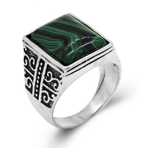 Men's Green Stone Signet Ring